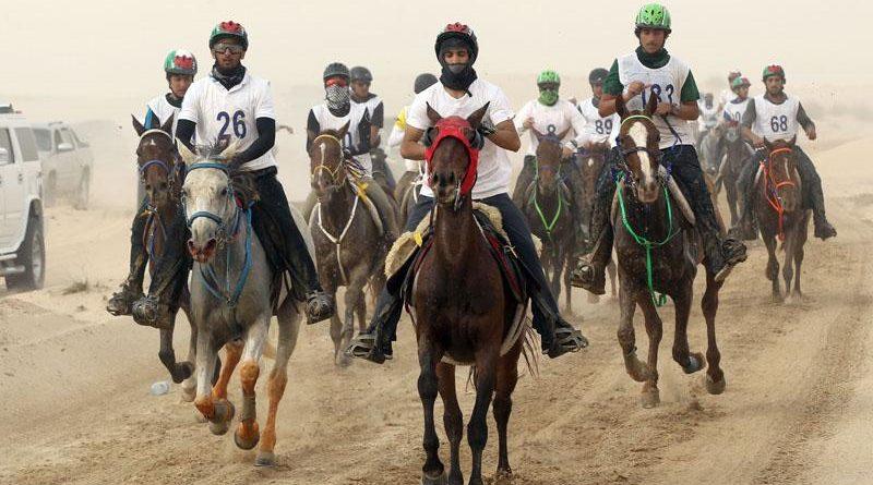 Carrera de resistencia ecuestre en Emiratos Árabes Unidos.