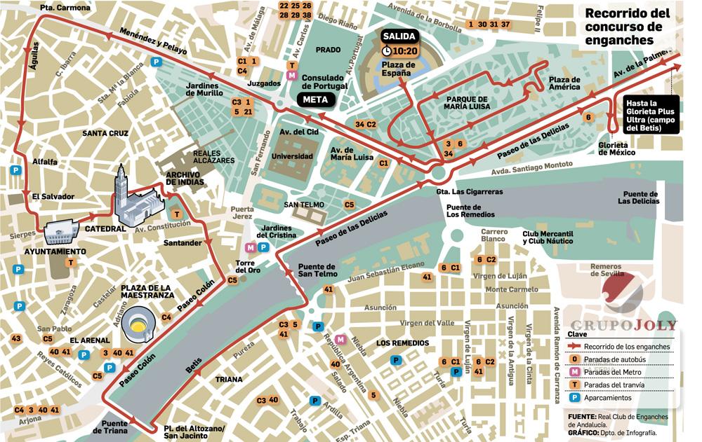 Itinerario que seguirá el sábado 29 el IV Concurso Internacional de Tradición ciudad de Sevilla. Gráfico: Grupo Joly.