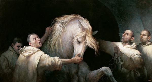 Ilustración de los monjes cartujos, considerados los impulsores de los caballos de La Cartuja.
