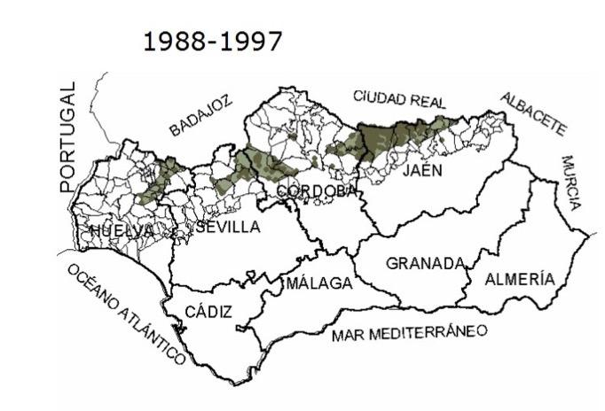 Presencia del lobo ibérico entre 1988 y 1997). Fuente: Junta de Andalucía.
