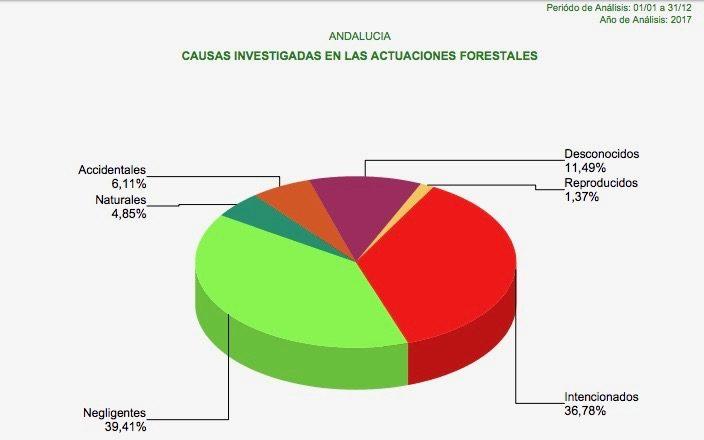 Causas investigadas en actuaciones forestales de 2017. Fuente: Consejería de Medio Ambiente.