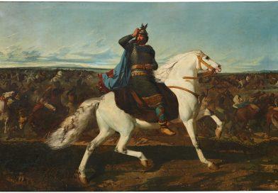 Recreación de Don Rodrigo en la Batalla del Guadalete sobre un caballo blanco ante la caótica contienda. Obra de Mariano de Unceta.