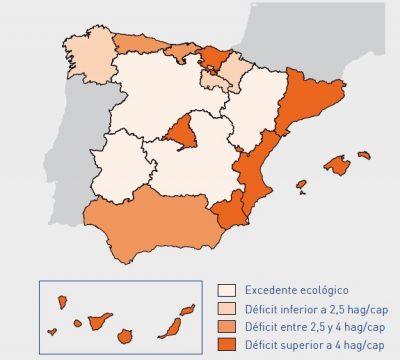 Balance ecológico por comunidades autónomas visible en el estudio Análisis de la Huella Ecológica de España, redactado en 2010 por el Ministerio de Medio Ambiente.