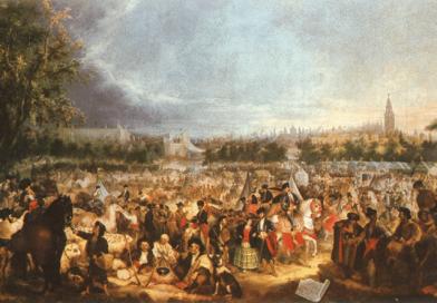 En el lienzo, el promotor de la Feria de Abril, José María Ybarra Gutiérrez de Caviedes, montado en un caballo tordo. Junto a él y a pie, el también promotor Narciso Bonaplata, vestido de época, junto a su mujer, con falda de volantes, en la Feria de Abril de 1847.